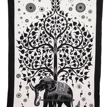 Bedsheet Indian Elephant Tapestry, Mandala Wall Hanging, Hippie Tree of Life Bedspread (TWIN SIZE, 100% PREMIUM QUALITY).