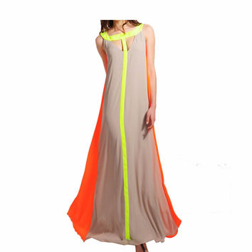 2016 Fashion New Women Summer Boho Long Maxi Dress Party Beach Chiffon Dresses Female Clothes Hollow Out Patchwork 01b0182