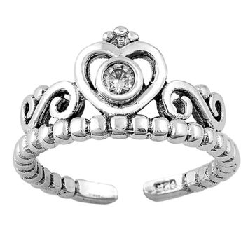 Sterling Silver Crown Tiara Toe Ring/ Knuckle/ Mid-Finger 8MM