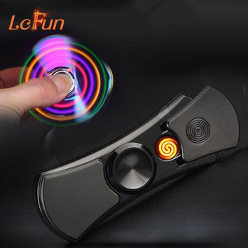 LED Hand Spinner Electric Lighter Rechargeable Electronic