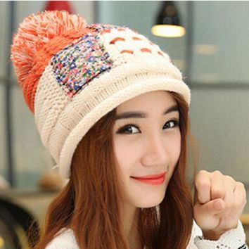 Korean Knitted Wool Hat Women Thickening Warm Winter Cap Ball Beanies Hemp Flowers Patchwork Color Pompom Hats Q598