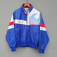 Vintage 90's CHAMPION products JAPAN training running front zippered blue with white black stripes hoodie large jacket size L