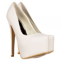 Onlineshoe High Heel Stiletto Concealed Platform Party Shoes - Nude Patent, Black Suede, White PU - Onlineshoe from Onlineshoe UK