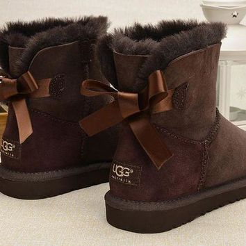One-nice™ UGG Fashion Women Bow Fur Wool Snow Boots Shoes