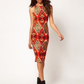 River Island Safari Print Body Con Dress at asos.com