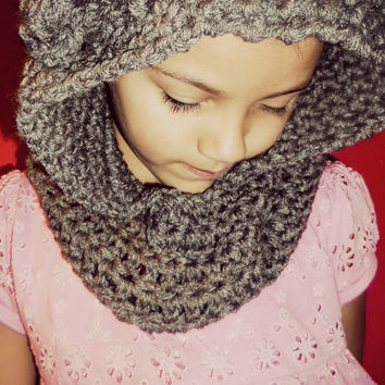 Gray Teddy Bear Cowl Neck Hooded Scarf
