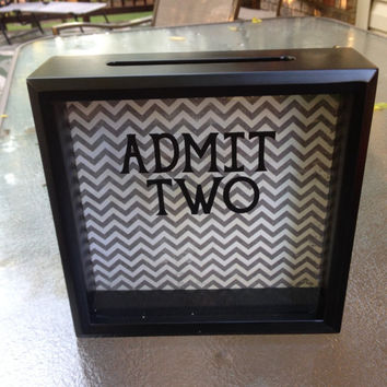 ADMIT TWO Ticket Stub Shadow Box, 8x8, Anniversary Gift, Wedding Gift, gift for husband, gift for wife
