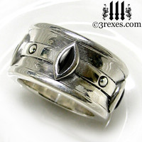 Gothic Wedding Ring Mens Medieval Engagement Band Black Onyx Stone Size 11