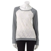 Candie's® Embellished Lace Sweatshirt - Juniors