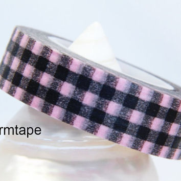 Japanese Washi Paper Masking Tape Roll Adhesive Stickers - Black and pink Gingham Checks