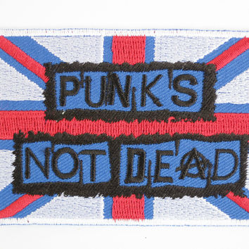"PUNKS NOT DEAD Anarchy Flag Iron on Embroidered Patch 3.1""/8.2cm"
