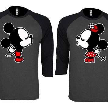 Mickey Minnie Kiss Couple Matching Love Set Baseball T-shirt