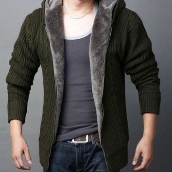 Mens Hooded Cardigan with Inner Layered in Army Green