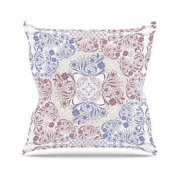 "Famenxt ""Floral Dense Garden"" Blue Brown Illustration Throw Pillow"