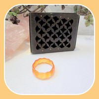 """Joy"" Scallop Orange Jade Ring Size 8"