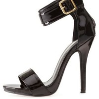 Black Belted Ankle Strap Heels by Charlotte Russe
