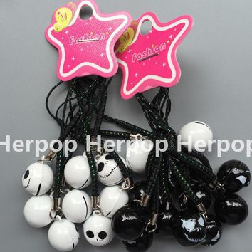 lot 10 pcs Cartoon Nightmare Before Christmas Pendant DIY Key Chains With Bell Bag Pendant party Gifts Favors Free Shipping
