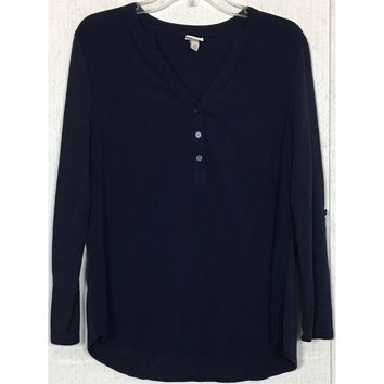 Merona Mixed Media Popover Top Dark Navy Blue Shirt Blouse V-Neck Convertible L