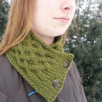 Irish Celtic cable shamrock green button scarf, cowl for St. Patrick's, soft washable wool, hand knit, ready to ship