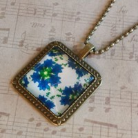 "Blue Green White Flower Pattern Square Antiqued Brass Glass 27"" Long Necklace"