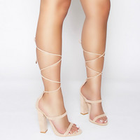 Tifany Nude Suede Clear Lace Up Block Heels : Simmi Shoes