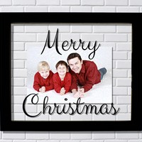 Merry Christmas Frame - Floating Photo Picture - Christmas Decor Holidays Gift Present Unique Modern