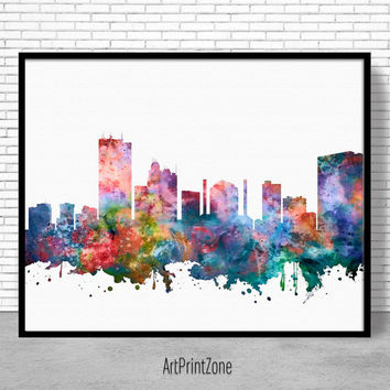 Toledo Skyline, Toledo Print, Toledo Ohio, City Wall Art, Office Decor, City Skyline Prints, Skyline Art, Cityscape Art, ArtPrintZone