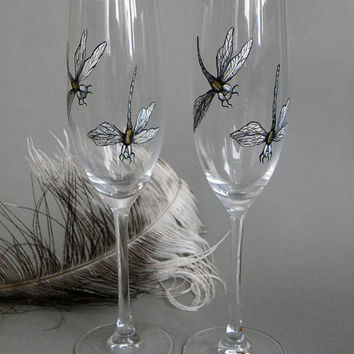 SALE PRICE Hand painted Wedding Toasting Flutes Set of 2 Personalized Champagne glasses Dragonfly