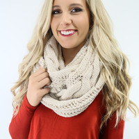 Sleigh Ride Cream Cable Knit ChunkyInfinity Scarf
