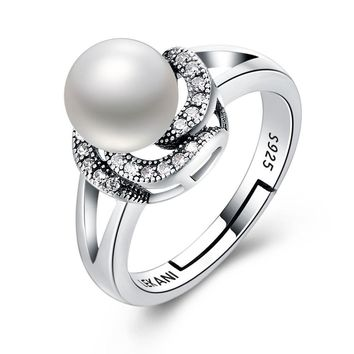 Women's 925 Sterling Silver Ring Pearl Series Retro Flower Adjustable Ring