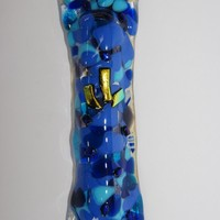 Blue fused glass handmade Mezuzah mezuza by Dalit by dalitglass