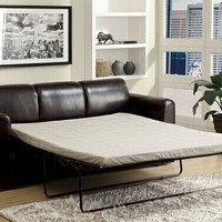 Costa espresso finish leather like vinyl upholstered pull out sleeper sofa with queen pull out mattress