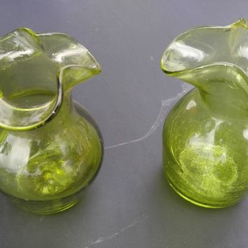 Vintage Green Depression Era Glass Decanters