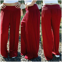 ON A VOYAGE GAUZE PALAZZO PANTS IN WINE