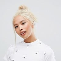 Lazy Oaf Fitted High Neck T-Shirt With Faces at asos.com