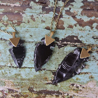 Arrowhead necklace Black Obsidian necklace  flint stone tribal necklace made to order customizable