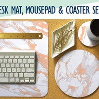 Rose Gold and White Marble Desk Mat, Mouse Pad & Coaster Set  -Desk Accessory Set