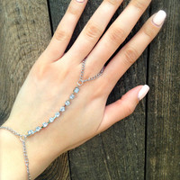 Crystal Hand Chain. Hand Jewelry. Bracelet.