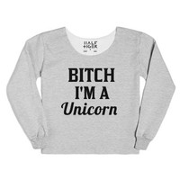 bitch i'm a unicorn chop sweatshirt-Female Heather Grey T-Shirt