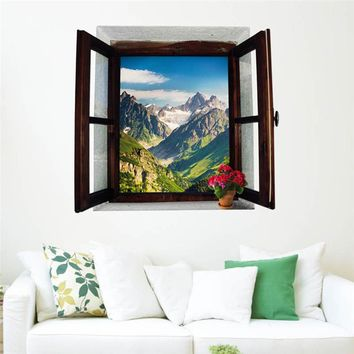 Open Window Mountains Landscape 3D Wall Stickers Removable Wallpaper Creative Window View Mural Decals for Home Decorations