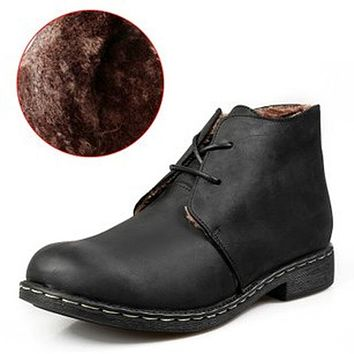 Men Autumn Winter Nubuck Leather Ankle Boots Fashion British Lace-up Cowboy Boots Casual Men Shoes