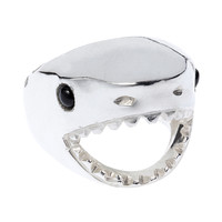 Large Shark Ring- Silver & Onyx