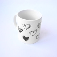 Cute mug with a lot of hand painted hearts - will be a good gift for your sweetheart. Designer Cup, Designer mug