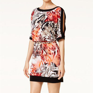 Animal Print Cut Out Half Sleeve Mini Dress