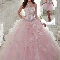 [179.99] Fantastic 2 In 1 Organza Sweetheart Neckline Ball Gown Quinceanera Dresses With Beadings & Rhinestones - dressilyme.com