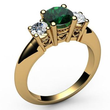 14K Gold Emerald 3 stone Ring, Unique Engagement Ring, Heart Filigree, Promise Ring, Love Ring for Your Love One