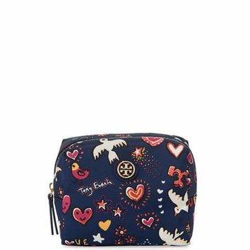 Tory Burch Brigitte Printed Nylon Cosmetics Bag, Navy/Multi