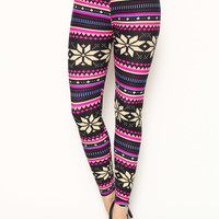 FAIR ISLE PRINT BRUSHED LEGGINGS