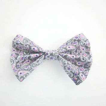 Purple Pink and Gray Paisley Hair Bow | hair clip | hairbow | hairbows | hair accessories | hair clip for girls | alligator clip | hairpiece