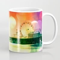 Santa Monica Pier Bursting Colors Mug by Christine Aka Stine1